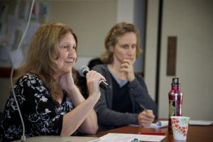 Kathy Gilberd of MLTLF and Lenore Yarger participate in a panel discussion at the 2013 GI Rights Network Conference. Photo by Siri Margerin.