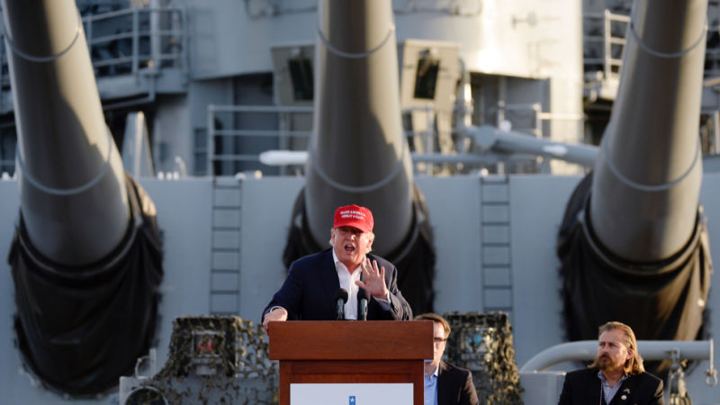 Photo of Trump on battleship