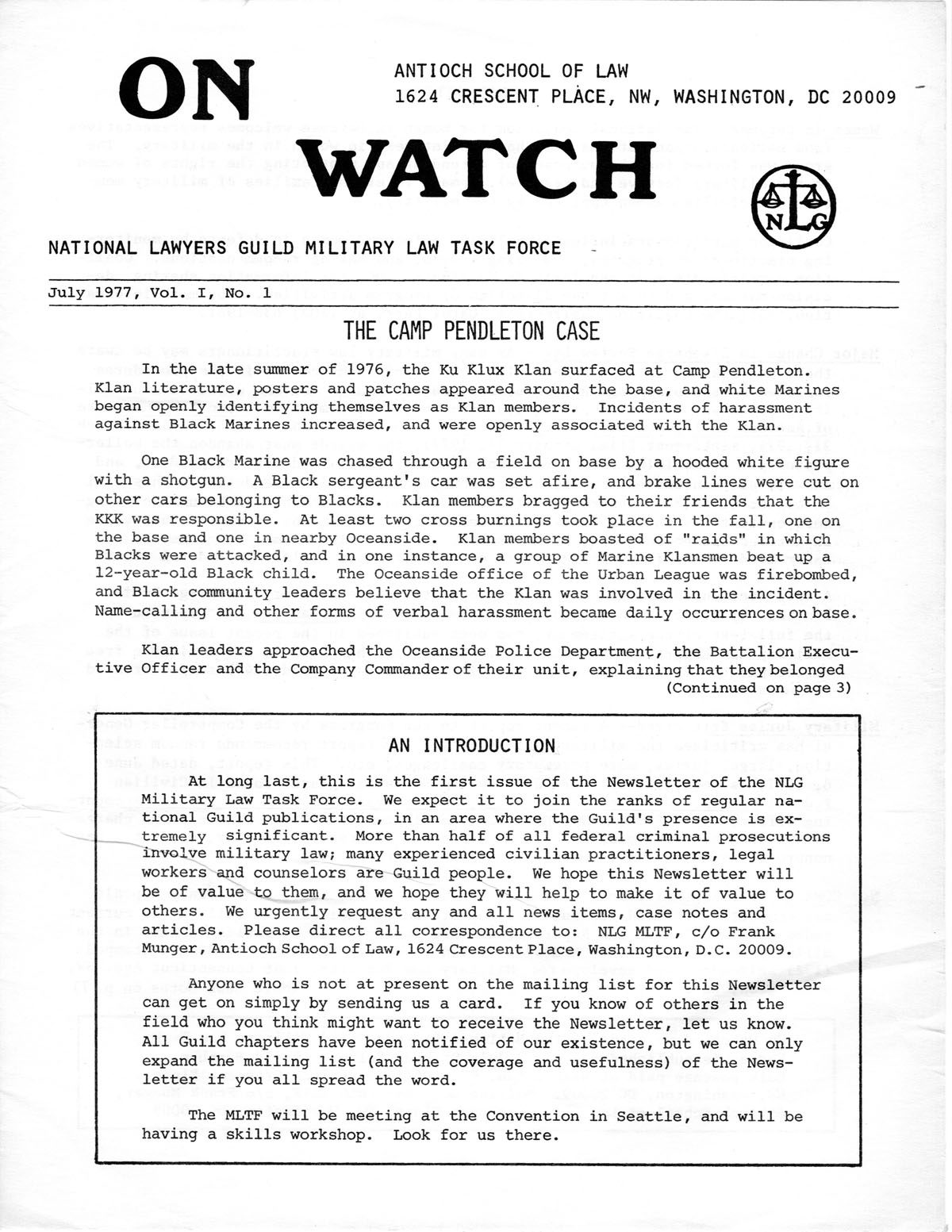 On watch early issues – The Military Law Task Force